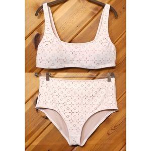 JCrew Bikini Swimsuit Hi Waist Cream Cutout Large